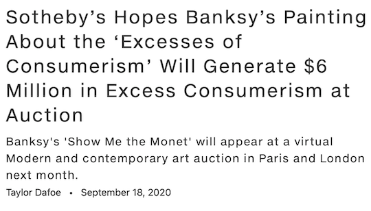 Sotheby's hopes Banksy's painting about the 'excesses of consumerism' will generate $6 million in excess consumerism at auction
